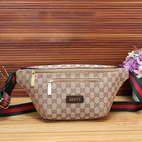 GUCCI New fashion more letter print shoulder bag bust waist bag Khaki