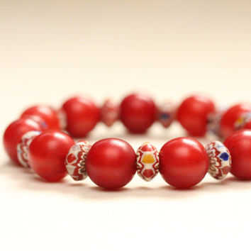 red bracelet / african bracelet / copal amber african jewelry / stretch bead bracelet / boho chic red jewelry / graduation gift for her
