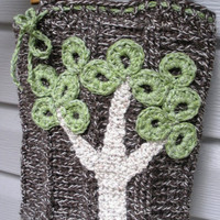 CHRISTMAS SALE The Giving Tree, a crochet wool handbag with OOAK tree detail and polka dot lining, ready to ship.