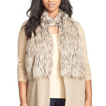 Plus Size Women's NIC+ZOE 'Festive' Faux Fur Trim Cardigan,
