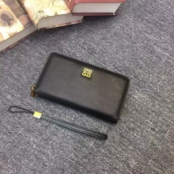 GIVENCHY BLACK LEATHER ZIP AROUND LONG WALLET