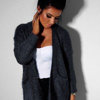 Ashlee Grey Chunky Knitted Pocket Cardigan | Pink Boutique
