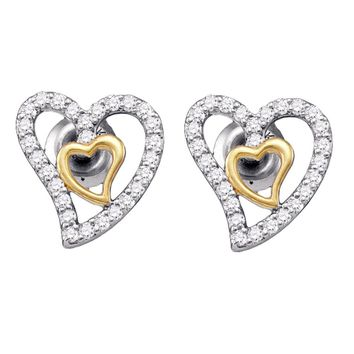 10kt White Gold Womens Round Diamond Heart Screwback Earrings 1/5 Cttw