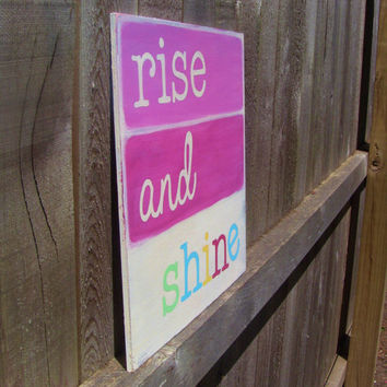 Rise and Shine, Hand painted, Shabby chic wall art, Girls room, Baby girl nursery art, Pastels, Wall art for girls room, Distressed wood