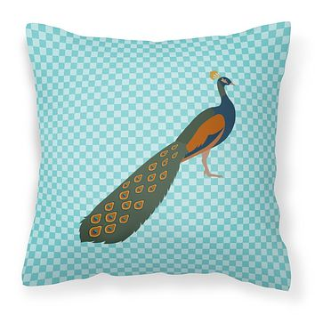 Indian Peacock Peafowl Blue Check Fabric Decorative Pillow BB8099PW1818