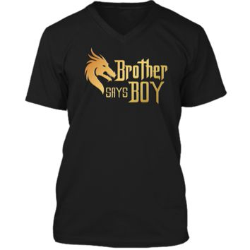 Cool Brother Say Boy T-shirt Blue Gender Reaveal Announcement - Cute T-shirt Mens Printed V-Neck T