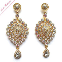 Rhinestone crystal earrings embelishment bridal wedding jewellery earring gold finish bride party prom