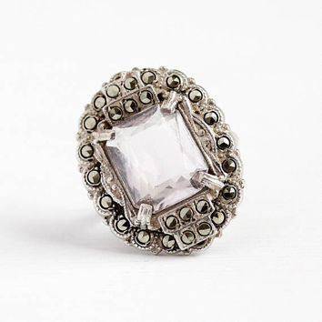 Vintage Silver Ring - Art Deco Sterling Silver Genuine Rose de France Amethyst & Marcasite Jewelry - 1920s Size 5 Statement Light Purple Gem