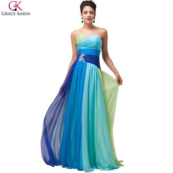 Rainbow Prom Dress Grace Karin Rainbow Plus Size Prom Dresses 2017 Vestido De Festa Ombre Bridesmaid Dress Pageant Gowns