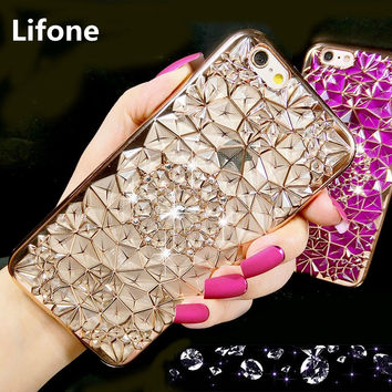 Luxury Metal Flash Floral Sunflower Case For iPhone 6 6S Plus Plating Soft Silicone Slim Diamond Phone Cover For iPhone6 6S