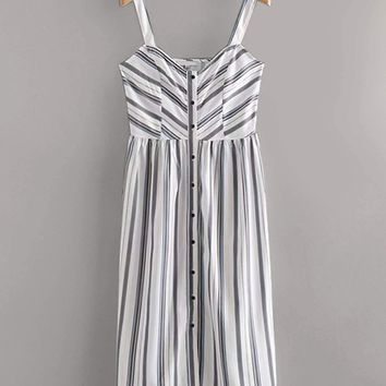 Vertical-Striped Button Front Cami Dress