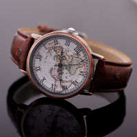 Vintage Roman World Map Watch