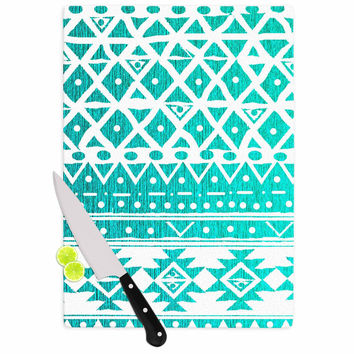 "Nika Martinez ""Aquamarine Tribal"" Teal Blue Cutting Board"