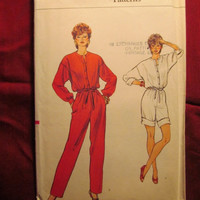 SALE Uncut Vogue Sewing Pattern, 8629! 6-8-10 Small/Medium/Women's/Misses/Loose Fitting Jumpsuit/Straight leg Jumpsuit/Blouse Bodice/Coveral
