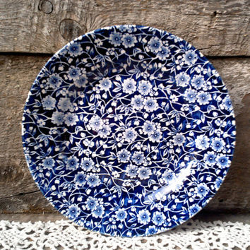 "Blue Calico 8"" Side Plate, Blue and White Transferware, Serving, Churchill England"
