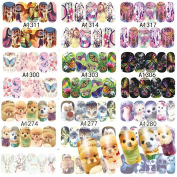 48 Sheets Nail Art Decorations Sets Animal Beautiful  Dream Catcher Water Transfer Nails Sticker Full Decals Tools A1273-1320