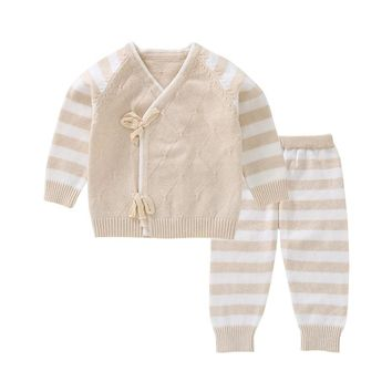 Mioigee 2018 Newborn Baby Girls Clothes Striped Knitted Sets Spring Fall Winter Infant Girl Clothing Suits Baby Boy Clothes Sets
