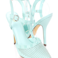 Jade Studded Strappy Single Sole Heels Faux Leather