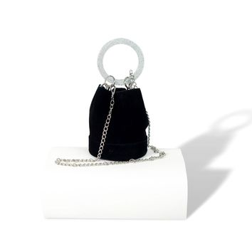 Black Women's Leather Handbags With Bracelet Handle Bucket Bag