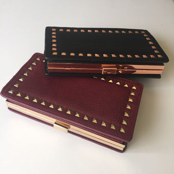 Studded Jumbo Box Clutch  -  Burgundy or Black Faux Leather -  Rose Gold & Gold Studs