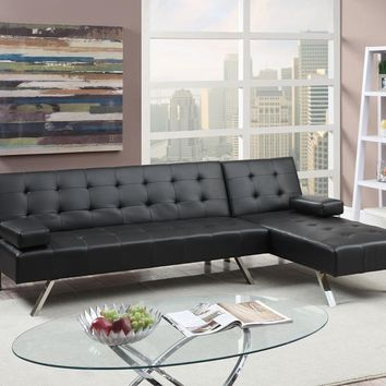 Faux Leather 2 Piece Adjustable Sofa Set In Black By Poundex