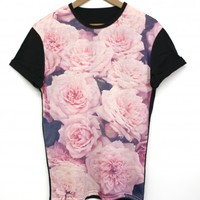 Faded Roses Black All Over T Shirt