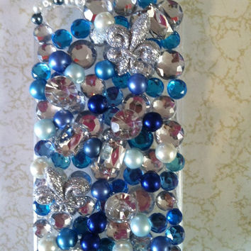 Black Friday Etsy Custom Iphone 4/4s Chunky Blue Bling Cell Phone Case  FREE SHIPPING