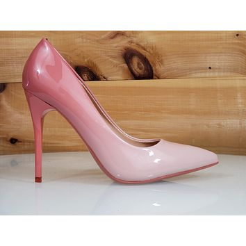 "In Demand Pink Blush Patent Ombre Blend Pointy Toe Pump Shoe 4"" High Heels"