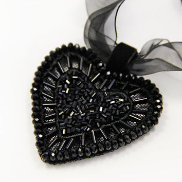 Black heart pendant bead embroidery on lace. Bead Сrystal pearls and organza with black heart pendant OOAK