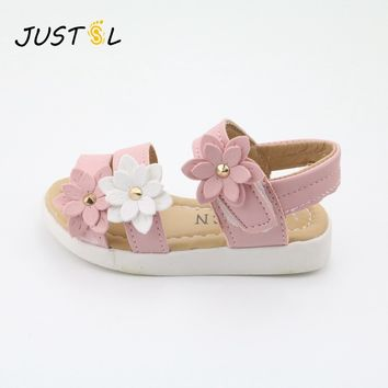 JUSTSL Children's shoes 2018 Summer new kids shoes Lovely flower shoes Fashion girl sandals Magic baby shoes for kiad 21-36