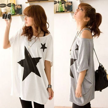 New Womens Girls Oversized Baggy  Star Short Sleeve Tops Round Neck Tee T-shirt S M L XL AP = 1946467908