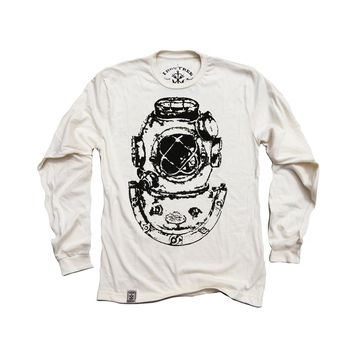 Mark V Antique Divers Helmet: Organic Fine Jersey Long Sleeve T-Shirt in Unbleached Natural