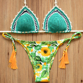 2Pcs Handmade Crochet Bikini Set Daisy Prined Swimsuit 9