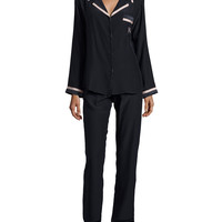 Long-Sleeve Pajama Set, Navy/Creme, Size: MEDIUM, NAVY/CREME - Carolina Herrera
