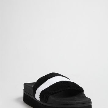 Jane and the Shoe Striped Fleece Platform Slides
