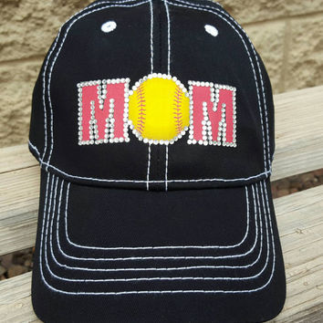 Softball mom hat red mom and bling trucker style- M's can be done in color of your choice
