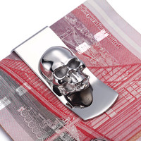 Modern - Brand New 2016 Skull Designs Men Sliver Money Clip Slim Pocket Purse Cash Holder Card Organizer Men Women Wallet