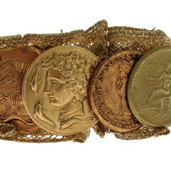 Gold Brass Roman Coin Sicily Lace Headband Hair Diadem