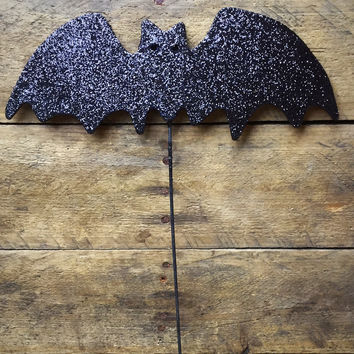 "Sparkle Bat on Wooden Pick 8"" W Halloween Decoration"