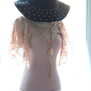 Black Friday Sale Boho Angels wing top, Romantic nude blush lace top, Bohemian clothing, lace angel wings, Country chic, True rebel clothing