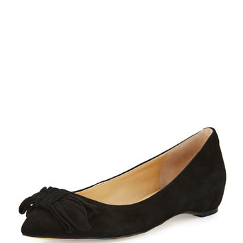 Catrina Suede Bow Flat, Black