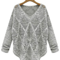 Gray V-neck Long Sleeve Diamond Lattice Knitted Sweater