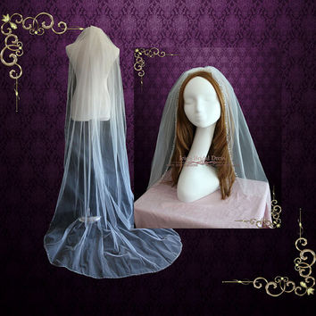 One Layer Chapel Veil With Beaded Edge | Long Wedding Veil | Bridal Veil |  Single Tier Veil | VG1063