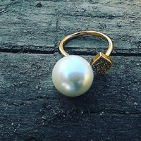 Pearl ring Gold plated  Adjustable Star Rings US Ring Sizes 6 - 10 bridesmaid