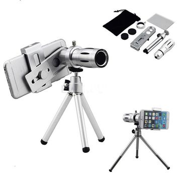 Phone Camera Lenses 12x Zoom Telephoto Optical Lens Telescope Magnifier With Clips Mobile Tripod Holder For iphone 4 5 6 7