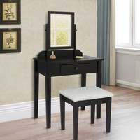 Best Choice Products Vanity Table Set W/ Stool Bedroom Home Furniture- Black - Walmart.com