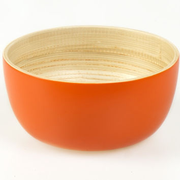 Coiled bamboo round serving bowls, orange