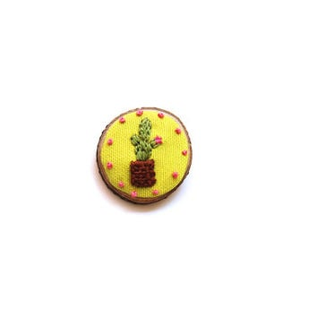 Hand Embroidered Cactus Brooch / Cactus Pin / Wooden Brooch Pin