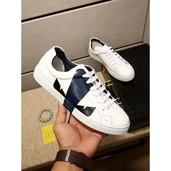 Fendi 2018 new monster eye print color matching lace sports shoes White+blue