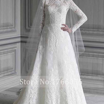 New Designer Elegant Long Sleeves Lace Wedding Dresses 2016 Applique Zipper High Neck A Line Vestido De Noiva Plus Size Hot Sale